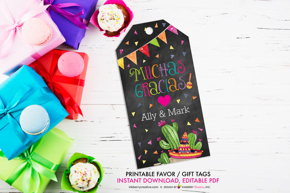 Taco Bout Love Bridal Shower - Muchas Gracias - Favor Gift Tag - Chalkboard Style - Printable, Editable