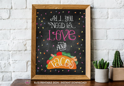 Taco Bout Love Bridal Shower - Love and Tacos Sign - Chalkboard Style - Printable Sign - 8x10