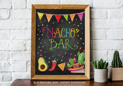 Taco Bout Love Bridal Shower - Nacho Bar - Chalkboard Style - Printable Sign - 8x10