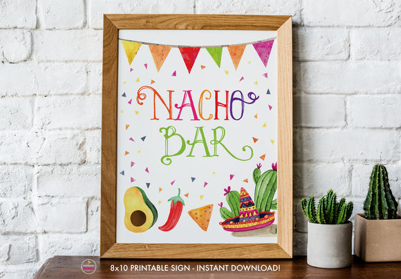 Taco Bout Love Bridal Shower - Nacho Bar - Printable Sign - 8x10