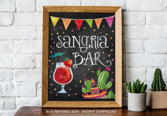Taco Bout Love Bridal Shower - Sangria Bar - Chalkboard Style - Printable Sign - 8x10