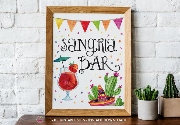 Taco Bout Love Bridal Shower - Sangria Bar - Printable Sign - 8x10