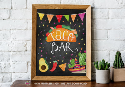 Taco Bout Love Bridal Shower - Taco Bar - Chalkboard Style - Printable Sign - 8x10