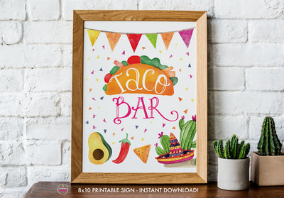 Taco Bout Love Bridal Shower - Taco Bar - Printable Sign - 8x10