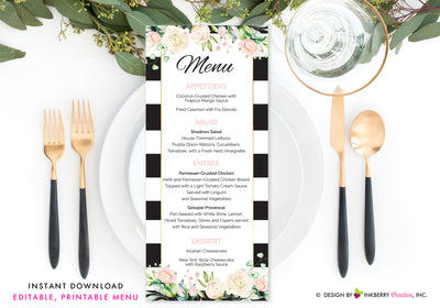 Black White Stripe Floral Wedding, Shower, Event Menu - Printable, Editable, Menu Cards - Instant Download, Editable PDF File, Print Your Own - inkberrycards