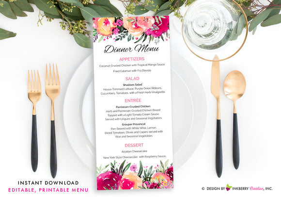 Bright Colorful Watercolor Floral Wedding Menu - Printable, Editable, Menu Cards - Instant Download, Editable PDF File, Print Your Own - inkberrycards
