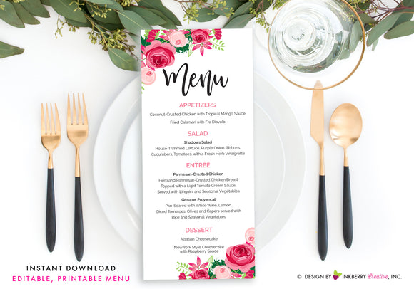 Pink Floral Wedding Menu - Printable, Editable, Menu Cards - Instant Download, Editable PDF File, Print Your Own