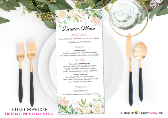 Painted Rose and Greenery Floral Wedding Menu - Printable, Editable, Menu Cards - Instant Download, Editable PDF File, Print Your Own