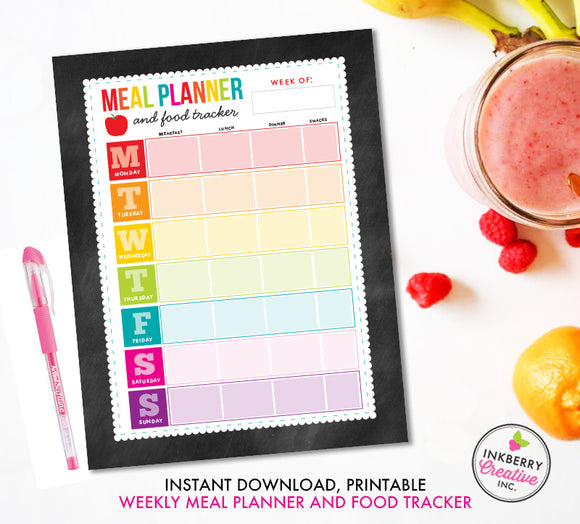 Printable Meal Planner and Food Tracker, Instant Download, PDF, Weekly Meal Planning, Food Tracking, Daily Meals Food Tracker, Food Journal - inkberrycards