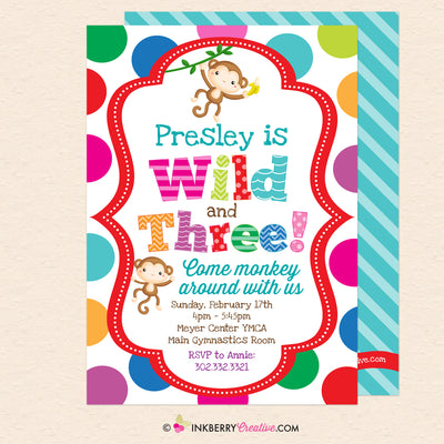 Wild and Three Monkey Theme 3rd Birthday Party Invitation - Printable, Instant Download, Editable, PDF