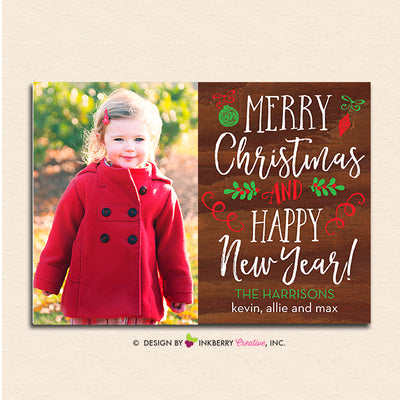 Hand Lettered Woodgrain Christmas Photo Card - inkberrycards
