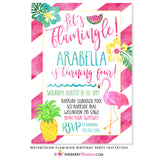Let's Flamingle Flamingo Birthday Party Invitation - Watercolor Style - inkberrycards