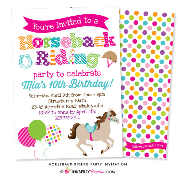 Horseback Riding Birthday Party Invitation (White) - inkberrycards