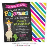 llama pajama party invitation on chalkboard background with llama and cactus graphics
