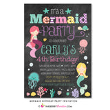 Mermaid Party Invitation - Chalkboard Style - inkberrycards