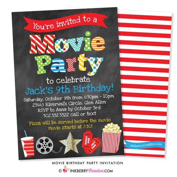 Movie Birthday Party Invitation - Chalkboard Style - inkberrycards