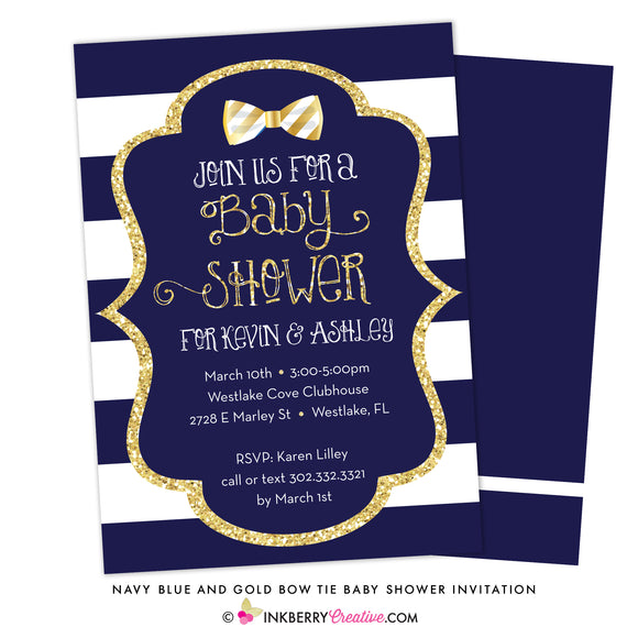 Navy Blue, White Stripe, Gold Glitter Bow Tie Baby Shower Invitation - inkberrycards