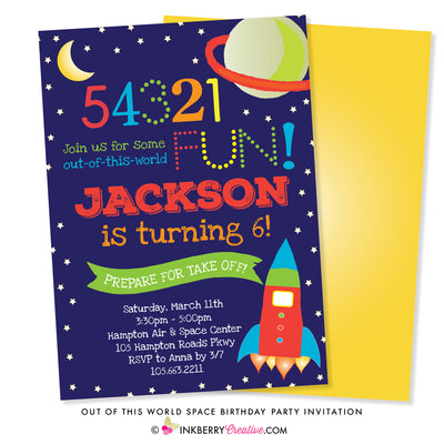 outer space theme party invitation on dark blue space background with stars, planet, moon, rocket ship