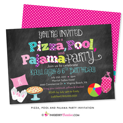 Pizza, Pool, and Pajama Birthday Party Invitation - Chalkboard Style - inkberrycards