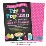 colorful pizza popcorn party invitation on chalkboard background with balloons, pizza, popcorn and party drink graphics