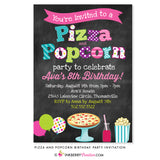 Pizza and Popcorn Birthday Party Invitation - Chalkboard Style