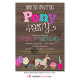 Pony Birthday Party Invitation (Wood)
