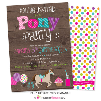 pony theme birthday party invitation on wood background, colorful, pony, balloons, horseshoe