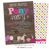 Pony Birthday Party Invitation (Wood) - inkberrycards
