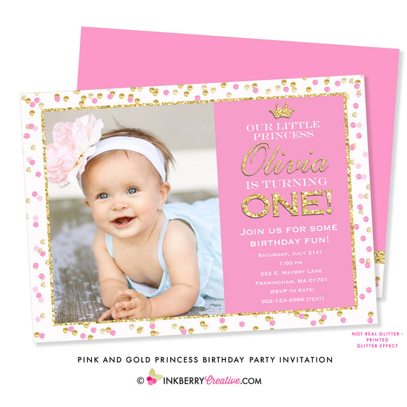 Pink and Gold Princess Birthday Party Invitation (Photo)