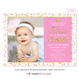 Pink and Gold Princess Birthday Party Invitation (Photo) - inkberrycards