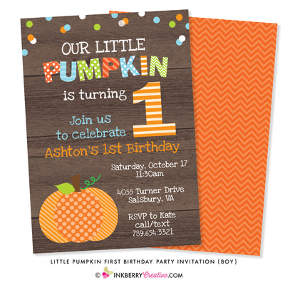 Little Pumpkin Boy First Birthday Party Invitation (Wood) - inkberrycards