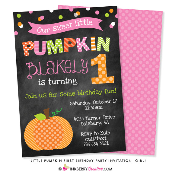 Little Pumpkin Girl First Birthday Party Invitation - Chalkboard Style - inkberrycards