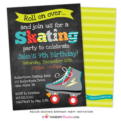 Roller Skating Birthday Party Invitation - Boys Skating Party - inkberrycards