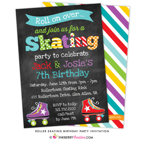 Roller Skating Birthday Party Invitation - Boy Girl, Sibling, Friends, or Twin Skating Party - inkberrycards