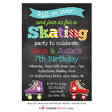 Roller Skating Birthday Party Invitation - Boy Girl, Sibling, Friends, or Twin Skating Party