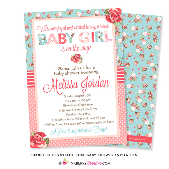 shabby chic vintage rose baby shower invitation with pink roses turquoise pink rose pattern