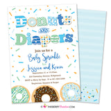 Donuts and Diapers - Baby Boy Sprinkle / Baby Shower Invitation (White Background)