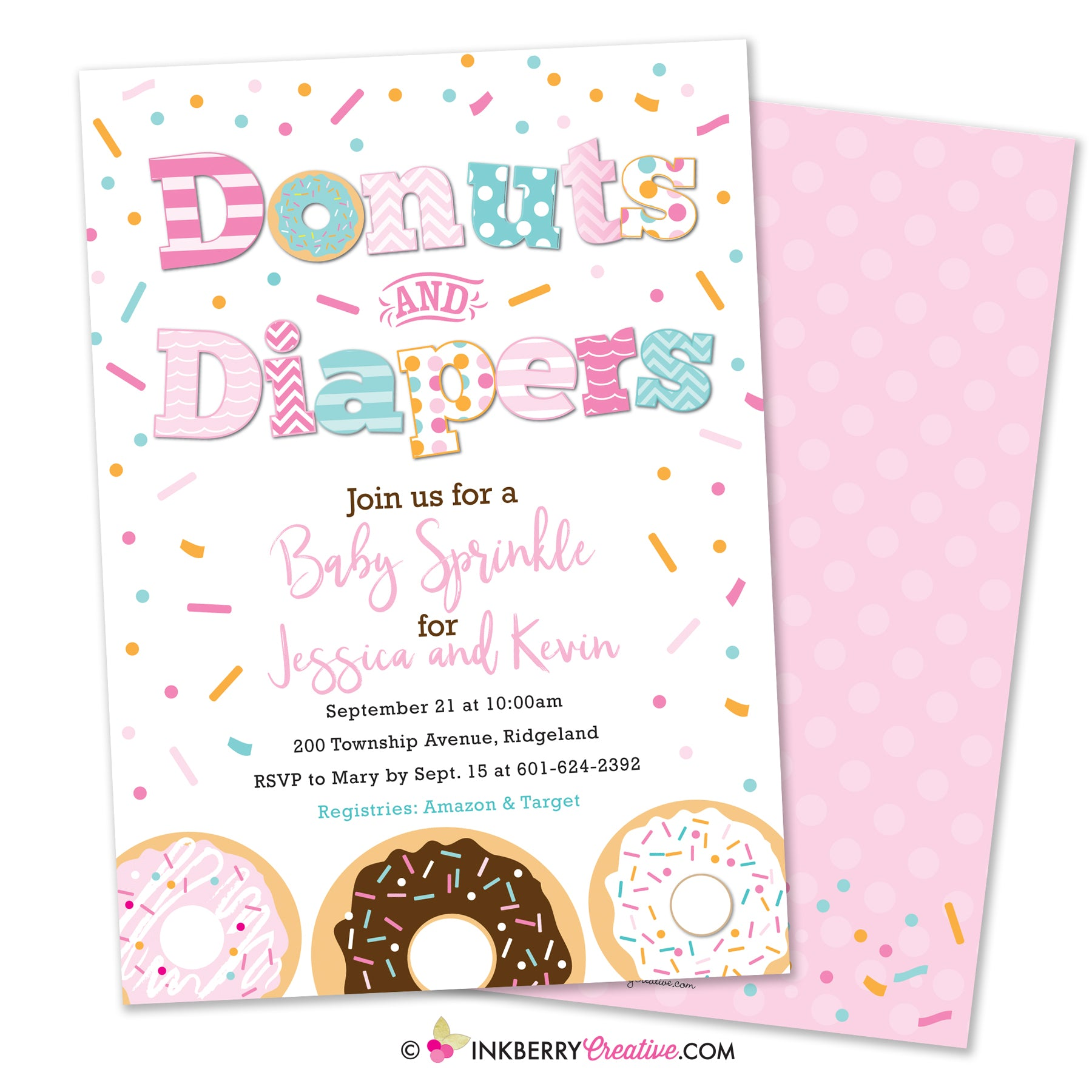 Donuts And Diapers Baby Girl Sprinkle Baby Shower Invitation Whit Inkberry Creative Inc