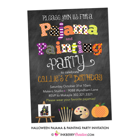 Halloween Pajama and Painting Party Invitation - Chalkboard Style - inkberrycards