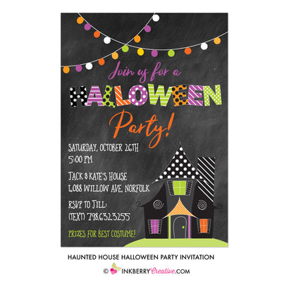 Haunted House Halloween Party Invitation - Chalkboard Style - inkberrycards