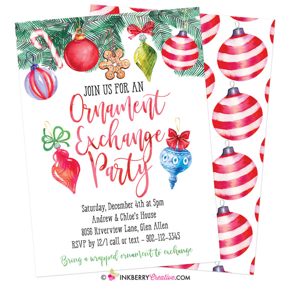 Ornament Exchange Christmas Holiday Party Invitation