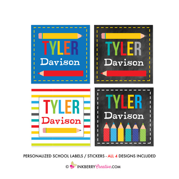 Personalized School Stickers / Labels (Printed/Shipped), Back to School Labels, Book Labels, Kids Labels, Colorful, Teacher Labels - inkberrycards
