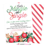 Mingle and Jingle, Painted, Watercolor, Candy Canes Christmas Holiday Party Invitation - inkberrycards