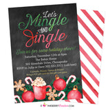 Mingle and Jingle, Painted, Watercolor, Chalkboard Christmas Holiday Party Invitation - inkberrycards