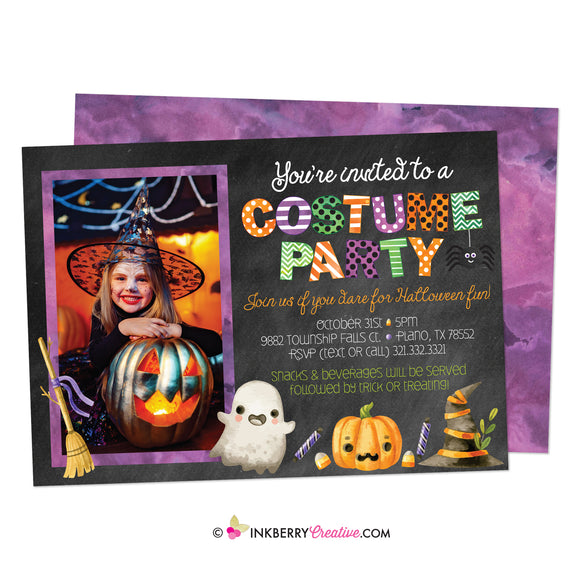 Halloween Costume Party Photo Invitation - Chalkboard Style, Watercolor Halloween - inkberrycards