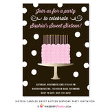 Sixteen Candles Sweet 16 Birthday Cake Party Invitation - inkberrycards