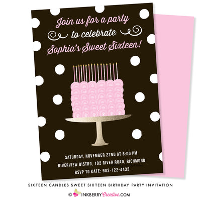 sweet 16 sixteen birthday party invitation with pink rose cake on gold cake plate, sixteen candles, black white polka dot background