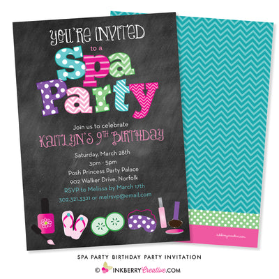 Kids Spa Birthday Party Invitation - Chalkboard Style - inkberrycards