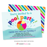Splashing Pool Party Invitation - inkberrycards
