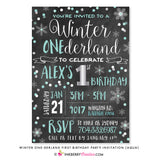 Winter ONEderland First Birthday Party Invitation (Aqua) - Chalkboard Style - inkberrycards